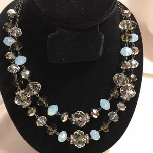 Opal Crystal double layer necklace